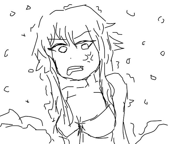 Impatient girl in bikini in the snow