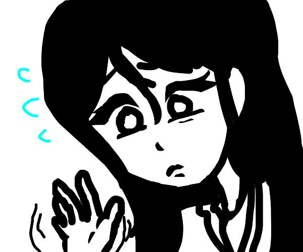 Young worried woman waving