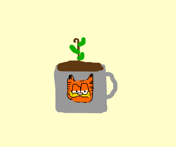 plant growing in a coffee cup