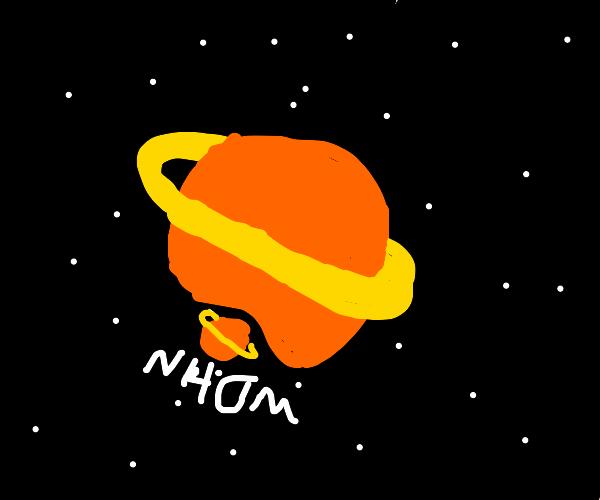 Saturn consumes smaller saturn