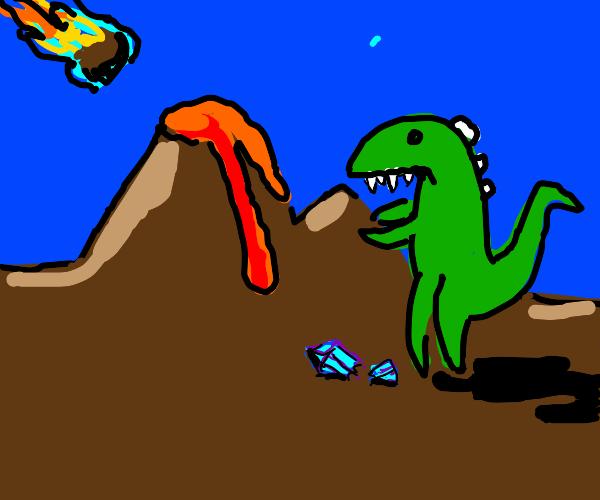 Dinosaur broke a crystal