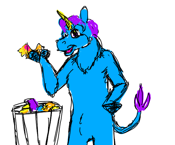 neon furry unicorn picks trash as food