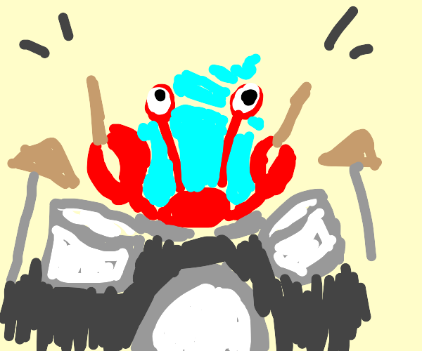 A hermit playing drums