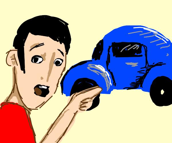 Guy Points At Car