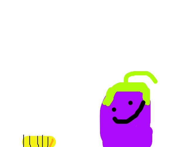"""""""Look, a maggot and a happy eggplant."""""""