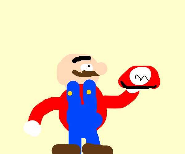 Mario takes off his hat, he's bald now!