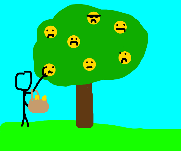 Unhappy emojis being picked from the tree
