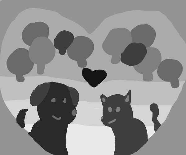 a dog and a cat fall in love in a crowd