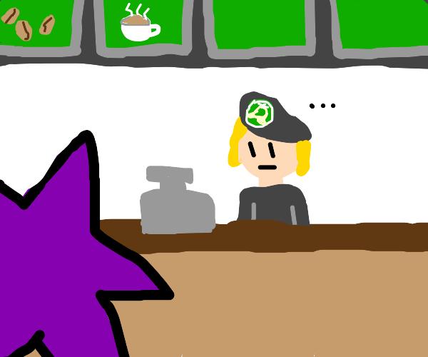 Purple star goes to Starbucks