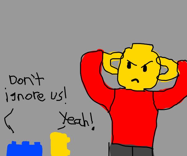 Lego man neglects his talking legos.