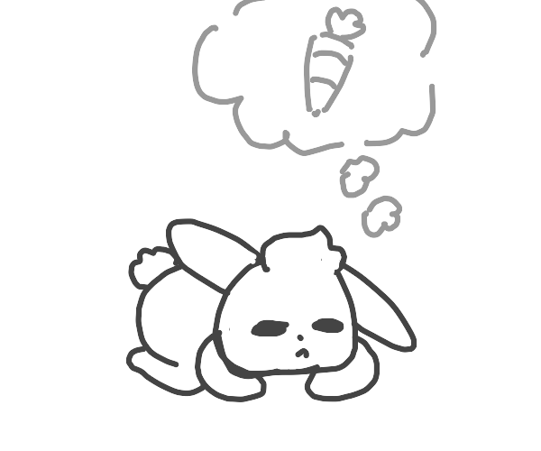 Bunny dreams about carrot