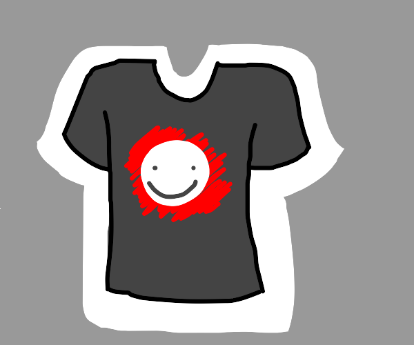 Black shirt with white face and red scribbles