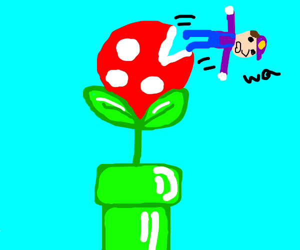 Piranha plant regurgitates a purple person