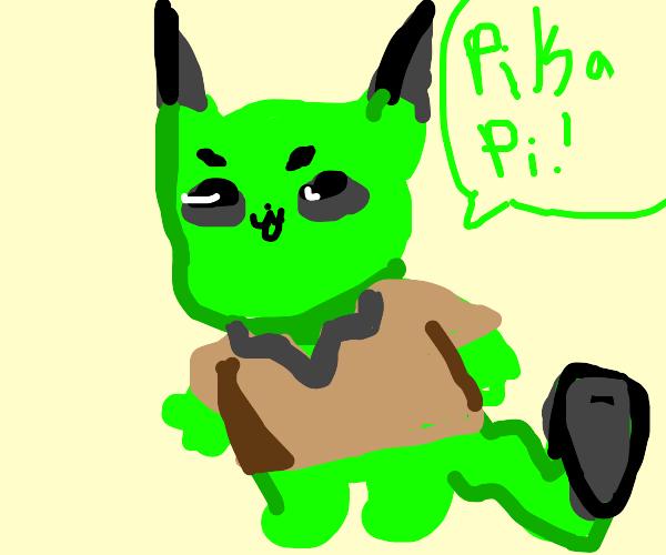 Green Pikachu wearing a tunic