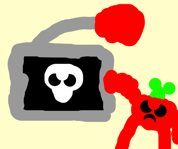 skull computer fights with tomatoes