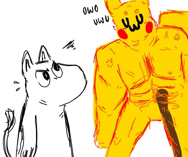 Moomin angry at buff pikachUWU