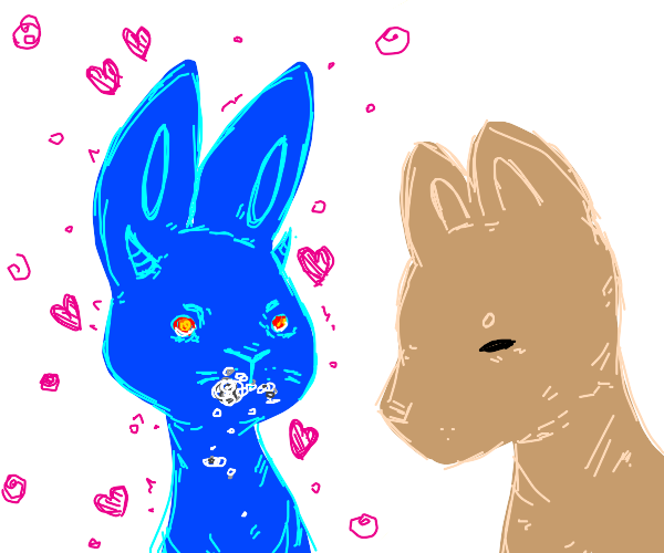 Blue demon bunny with rabies in love with dog