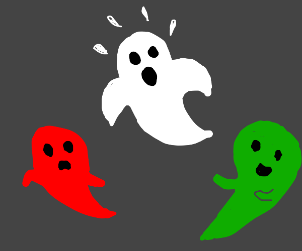 Ghost gets surrounded by green & red ghost