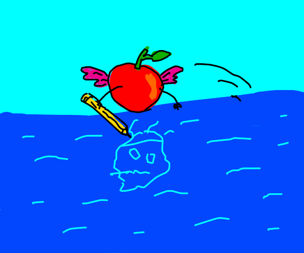 Flying cherry draws solid stuff in cold water