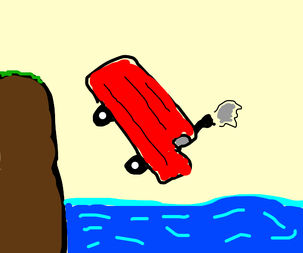 red truck fell into the ocean but hasn't sunk