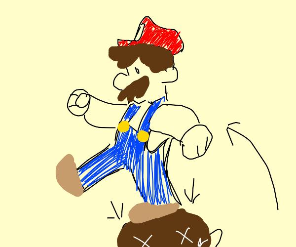 Mario jumping on goomba