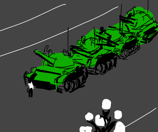 Army tank pointing at innocent man