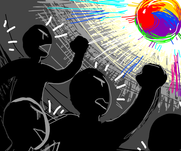 People shouting at a colorful ball