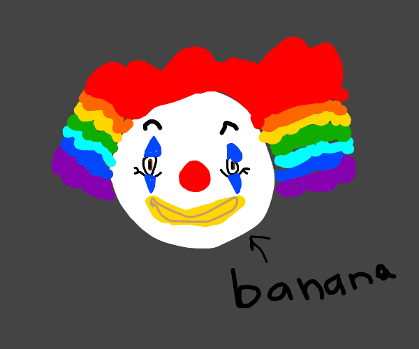 clown with banana mouth