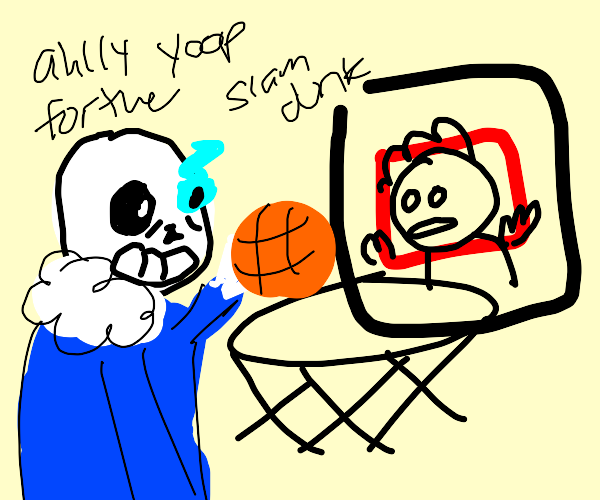 Guy is being dunked on by Sans