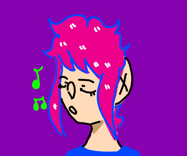 Pink haired anime girl singing