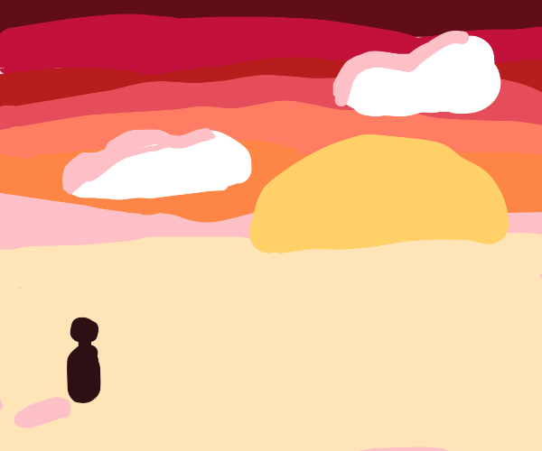 dark sillouette stares blankly at sunset