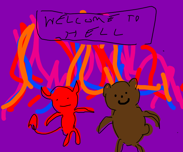 Satan and a Bear in the firey pits of hell