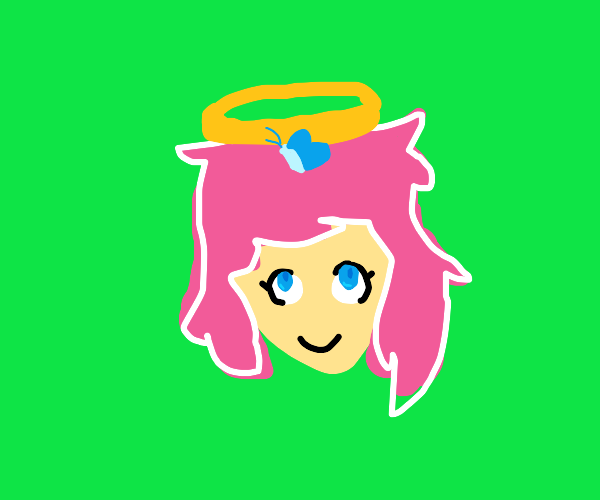 Pink haired angel with a big on their head