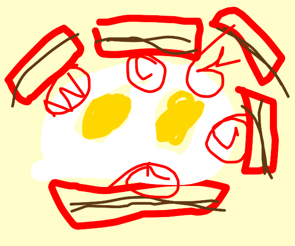 6 bacon slices eating scrambled egg