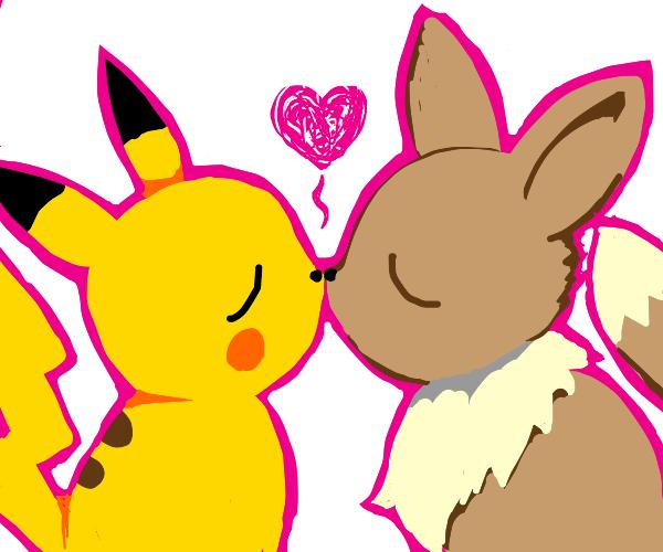 Pikachu and Eevee kissing