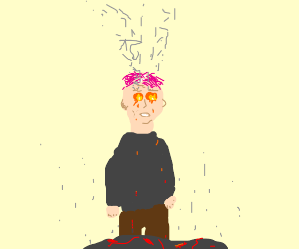 Pink haired person with lava eyes