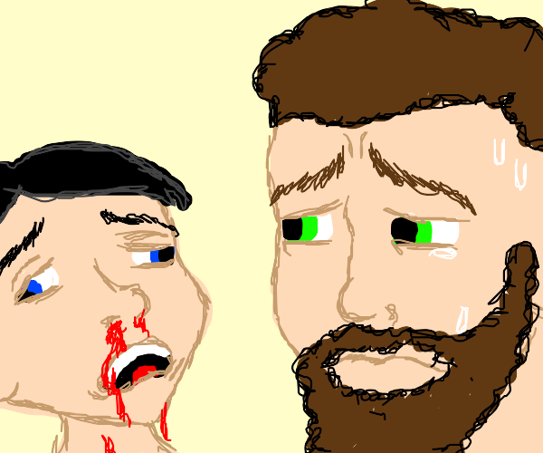 Guy worried for other guy with nose bleeding.