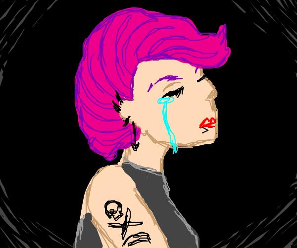 punk girl cries