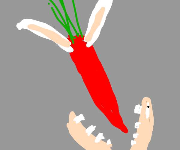 red Easter bunny-eared carrot