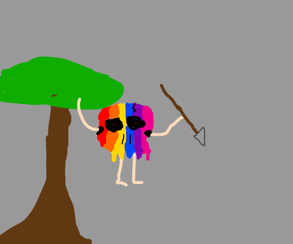 Rainbow skull creature comes out of a tree