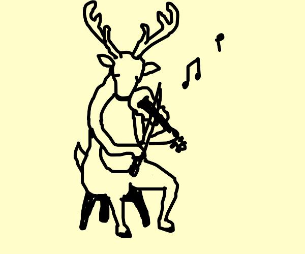 Reindeer playin a violin