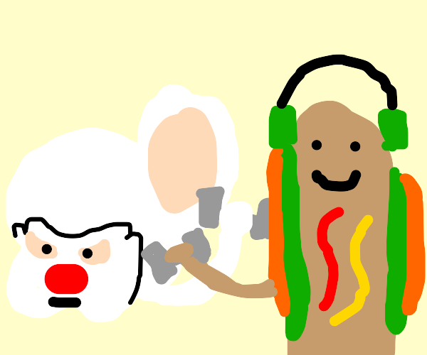 brain and hot dog lifting weights to together
