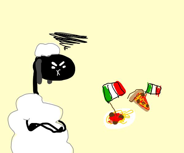 Sheep angered by Italian food