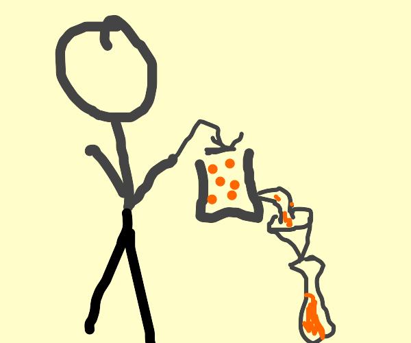 man crushing oranges into wine