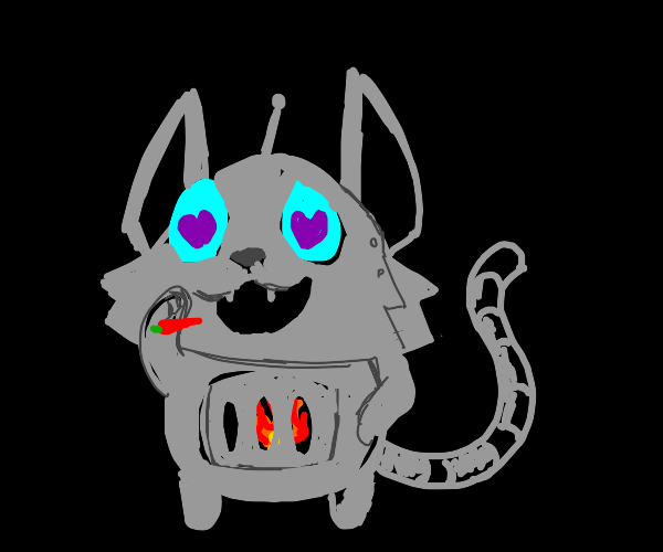 Fire fueled robo cat likes peppers