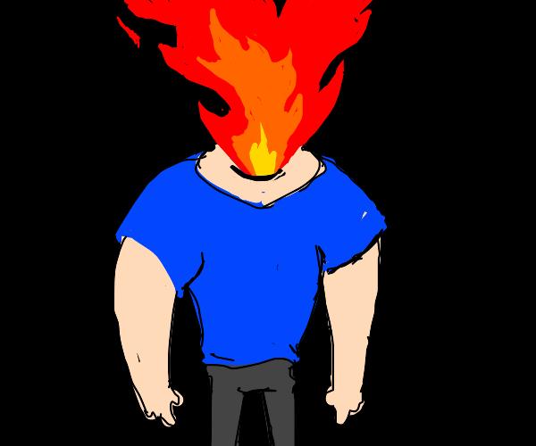No-head man shoots flames