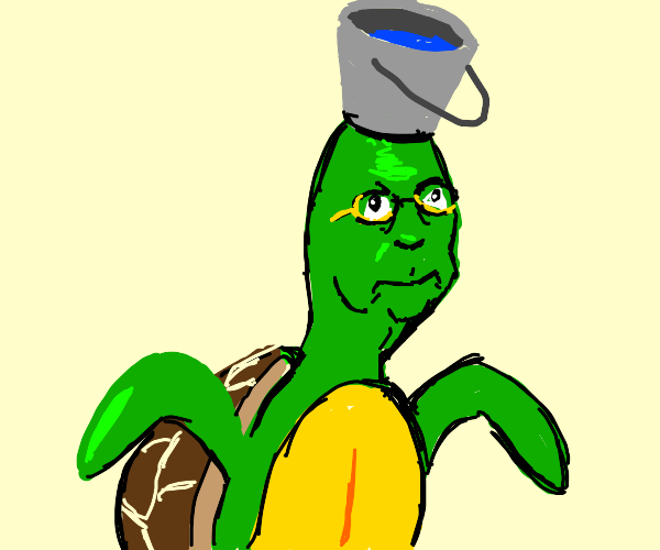 turtle man with water on his head