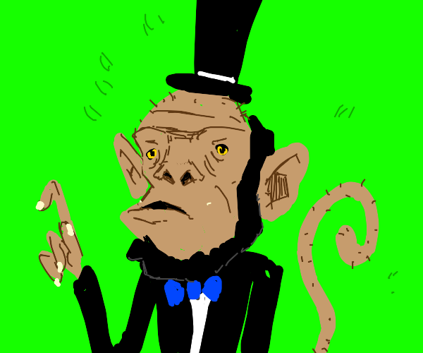 Shaved Monkey in a Top Hat poses as Lincoln