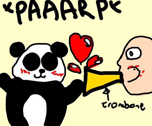 panda falls in love with trombone-man