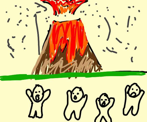 people running from volcano